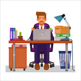 Vector flat illustration of a man working on the computer. At a table littered with papers Stock Photo