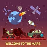 Vector flat illustration of Mars colony with comets, meteors, craters, satellites, bases, rover, shuttles in space Stock Photo