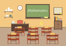 Vector flat illustration of mathematic classroom at the school, university, institute, college. Desks with books rulers Stock Image
