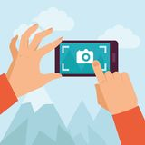 Vector flat illustration -mobile photography Stock Photos