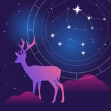 Vector flat Illustration on night colors gradient backgroud with constellation of stars, natal chart and soft light and clouds and