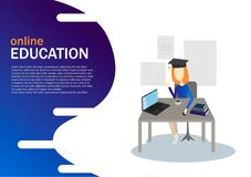 Online Education concept, laptop with books and diplom, girl preparing online for landing page design. vector illustration