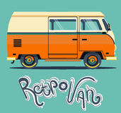 Vector flat illustration orange car. Background retro travel van Royalty Free Stock Photo
