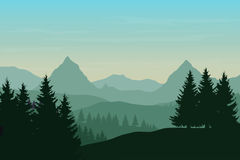 Vector flat illustration of a panoramic mountain landscape with Royalty Free Stock Photos