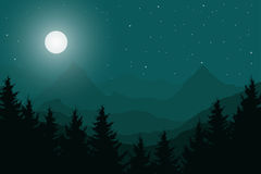 Vector flat illustration of a panoramic night mountain landscape Royalty Free Stock Photography