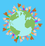 Vector flat illustration of planet Earth, human hands Stock Images