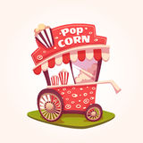Vector flat illustration of Pop Corn cart Royalty Free Stock Photography