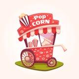 Vector flat illustration of Pop Corn cart Royalty Free Stock Photography