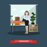Vector flat illustration of postal service manager Royalty Free Stock Photo
