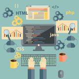 Vector flat illustration with programming objects Royalty Free Stock Image