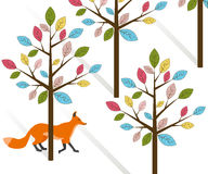 Vector flat illustration of a red fox that walks in the woods among the trees.  Royalty Free Stock Images