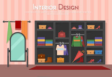 Vector flat illustration of room, with wardrobe, mirror with towels, shelf on the floor, parket with carpet rug. Shoes Royalty Free Stock Image