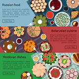 Vector flat illustration of russian, belarusian, moldovan molnational dishes. Borscht, okroshka, rye bread, blini and lemon, meat and potato, bay leaf, eps 10 Stock Photo