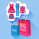 Vector flat illustration sale of womens clothing. Vector package with dress, top, jeans, skirt. Use for banners, flayers, website, showcase, action stock illustration