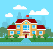 Vector flat illustration of school building, for poster, banner, etc Stock Photography