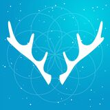 Vector flat Illustration of silhouette deer horns and soft light around mandala on a gradient sky blue starry backgroud. Used for