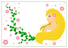 Vector flat illustration of smiling blonde girl with green leaves and pink flowers Royalty Free Stock Photo