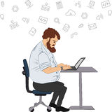 Vector flat illustration of society members with  men and -social network concept - coworking -  programmer writes code Stock Photo