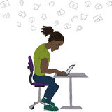 Vector flat illustration of society members with  men and -social network concept - coworking -  surfing the Internet Stock Image