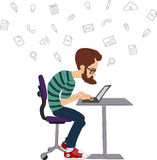 Vector flat illustration of society members with  men and -social network concept - coworking -  UX designer Stock Photography