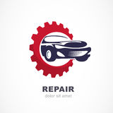 Vector flat illustration of sport car in gears cogs. Abstract lo. Go design template. Concept for automobile repair service, spare parts store Royalty Free Stock Images