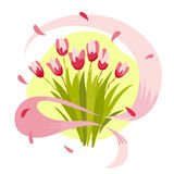 Vector flat illustration of spring flowers and rose ribbon isolated on white background. Bouquet of pink tulips. Cartoon style. Good for spring holiday banner Royalty Free Stock Photography