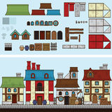 Vector flat illustration and sprite for game. Old houses vector illustration