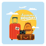 Vector flat  illustration of summer vacation. Stock Photography