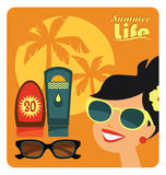 Vector flat  illustration of sunbathe. Stock Photography