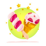 Vector flat illustration of tasty sweet ice cream cone and eskimo with stars Stock Photos