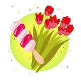 Vector flat illustration of tasty sweet ice cream eskimo and spring tulip bouquet Stock Photo