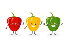 Vector illustration of three cartoon peppers isolated on white background vector illustration