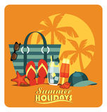 Vector flat  illustration of traditional beach vacation. Stock Image