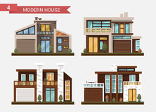 Vector flat illustration traditional and modern house. Family home. Office building. Private pavement, backyard with. Garage. Office architecture with beautiful Royalty Free Stock Photography