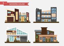 Vector flat illustration traditional and modern house. Family home. Office building. Private pavement, backyard with. Garage. Office architecture with beautiful Stock Photos