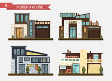Vector flat illustration traditional and modern house. Family home. Office building. Private pavement, backyard with Royalty Free Stock Photo