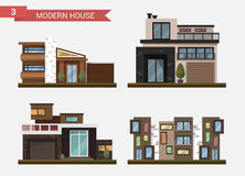 Vector flat illustration traditional and modern house. Family home. Office building. Private pavement, backyard with Stock Photography