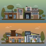 Vector flat illustration of two family house and sweet home banners outdoor street, private pavement, backyard with Stock Photos