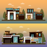 Vector flat illustration of two family house and sweet home banners outdoor street, private pavement, backyard with Royalty Free Stock Photos