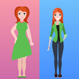 Vector flat illustration of two women of different stature Royalty Free Stock Photos