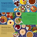 Vector flat illustration of ukrainian, hungarian, polish national dishes. Royalty Free Stock Image