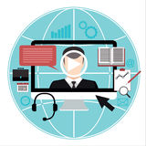 Vector flat illustration of webinar, on-line conference, lectures and training in internet.  Royalty Free Stock Photo