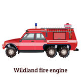 Vector flat illustration of wildland fire engine. Vector illustration of wildland fire engine isolated on white background. Flat style design Royalty Free Stock Photography
