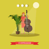 Vector flat illustration of woman playing contrabass Stock Photo