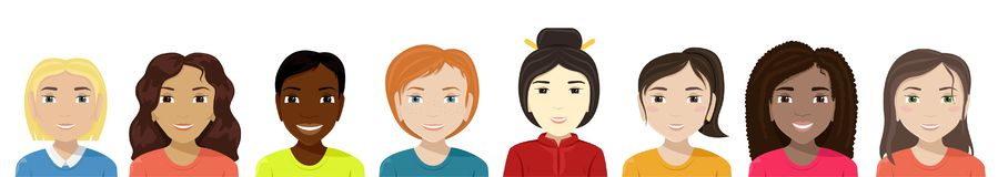 Vector flat illustration of women of different nationalities. Diversity vector illustration