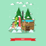 Vector flat illustration of wooden barrel vat for swimming. Vector illustration of wooden barrel vat with hot water, young couple snowboarders in swimsuits vector illustration