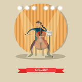 Vector flat illustration of young musician playing cello Royalty Free Stock Photos