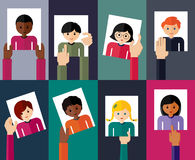 Vector flat illustration of young people. Royalty Free Stock Photo