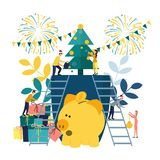 Vector flat illustrations, a big piggy bank on a white background, a Christmas tree with money, businessmen are royalty free illustration