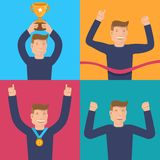 Vector flat illustrations - victory concepts Royalty Free Stock Image